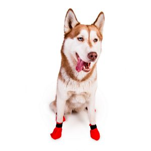 Red Bootie by Non-stop dogwear. Non-stop dogwear, premium dog gear for active pets and working dogs | Dog harnesses | Dog collars | Dog Jackets | Dog Booties.